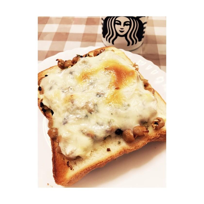青じそ風味の納豆トースト♡