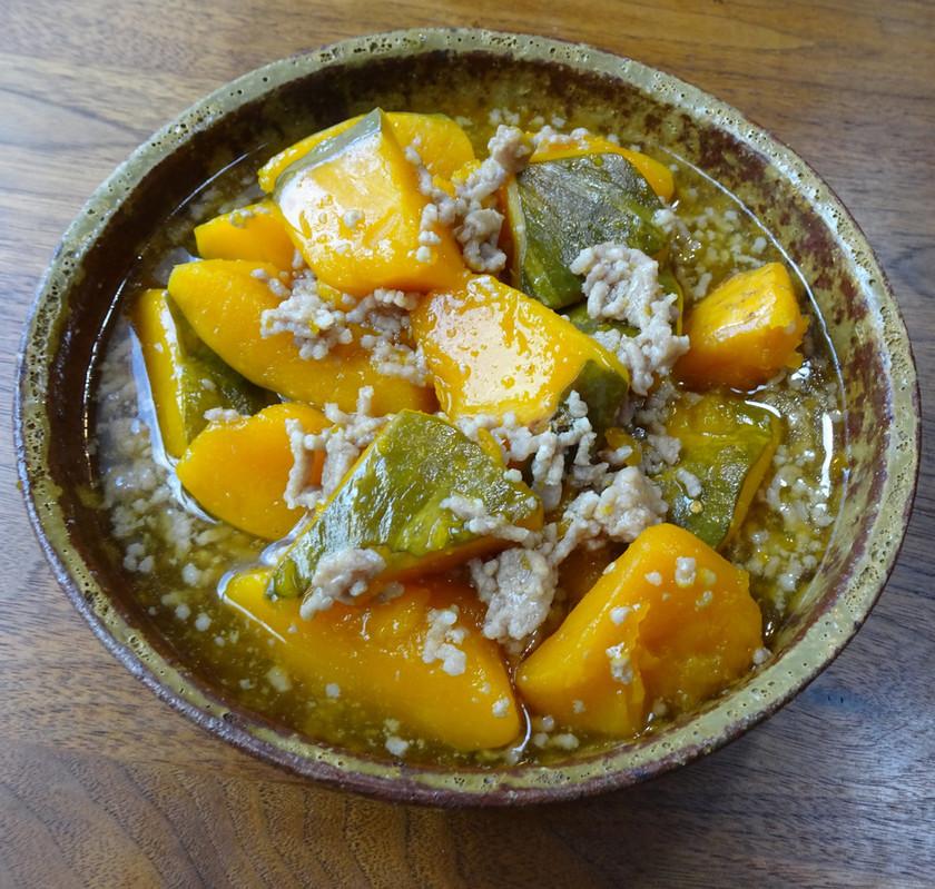 かぼちゃとひき肉の汁だく煮込み