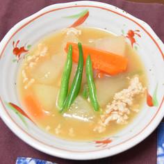 冬瓜と鶏ミンチのトロトロ味噌スープ
