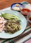 栄養満点!ナスと鶏肉のささみの素麺風