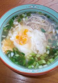 ノロ、胃腸風邪、ハサミで温かいにゅう麺
