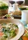 白インゲン豆とベーコン&レタスのスープ