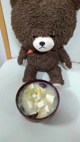 中華風豆腐と椎茸のふわふわ卵レタススープ