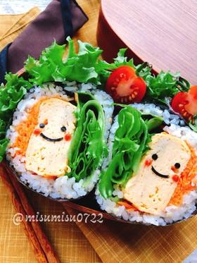 蕎麦の実ご飯で厚焼き卵おにぎらず(動画有