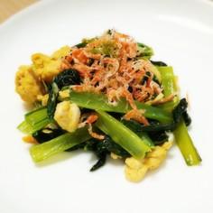 簡単♪小松菜と卵のめんつゆ炒め