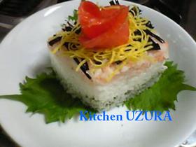 ひな祭り☆菱餅型押し寿司
