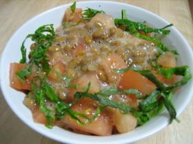 トマト納豆丼