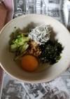 シラスときゅうりの納豆朝ごはん