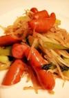 ソーセージと青梗菜ともやしのサッと炒め