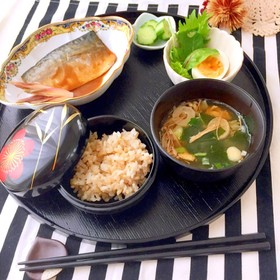 さば味噌煮定食風 お昼ご飯 低糖質