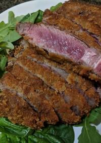 厚い牛肉で牛カツ