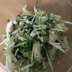 セロリと水菜と鶏肉のサラダ