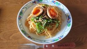 煮卵付き♪えのきとピーマンの生姜パスタ