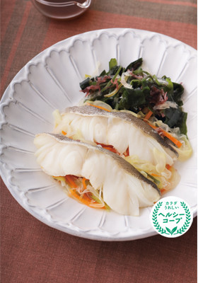 海藻と白身魚のヘルシー蒸し