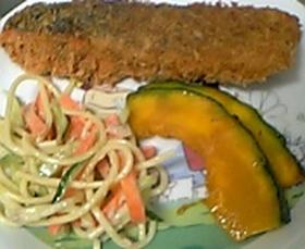 サーモンフライ&野菜の付け合せ