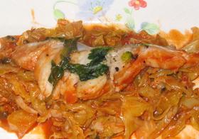 鱈とキャベツのトマト煮
