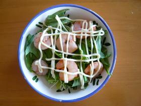 水菜とエビだけの超簡単サラダ