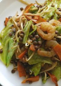 レンズ豆とムキエビの炒め物