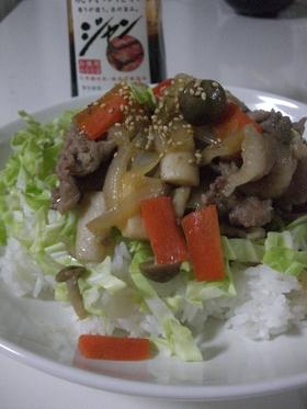 焼肉のタレで★豚肉ときのこのがっつり丼♡