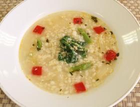ほうれん草と雑穀のスープ