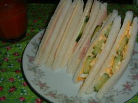 基本中の基本、簡単サンドイッチ(^ω^)