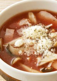 きのことベーコンの洋風トマトスープ