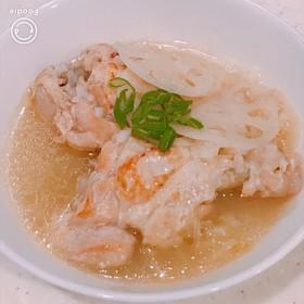 塩麹と圧力鍋で柔らか、蓮根入りサムゲタン