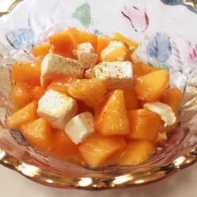 カプレーゼ風柿のフルーツサラダ