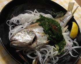 塩焼きいしもち(魚)のニラだれ