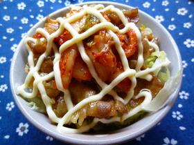 焼肉味のマヨ豚キムチ丼