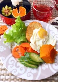 目玉焼きとハッシュドポテト 糖質制限朝食