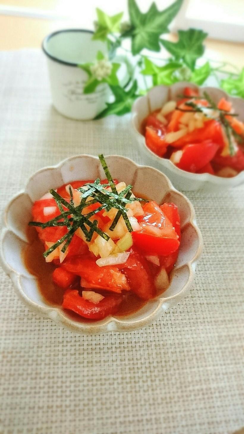 3分で簡単!トマトの和風オニオンサラダ