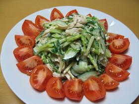 水菜と鶏ささみのごま和えサラダ✿
