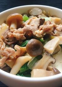 どんぶりやうどんに!きのこ肉みそ豆腐
