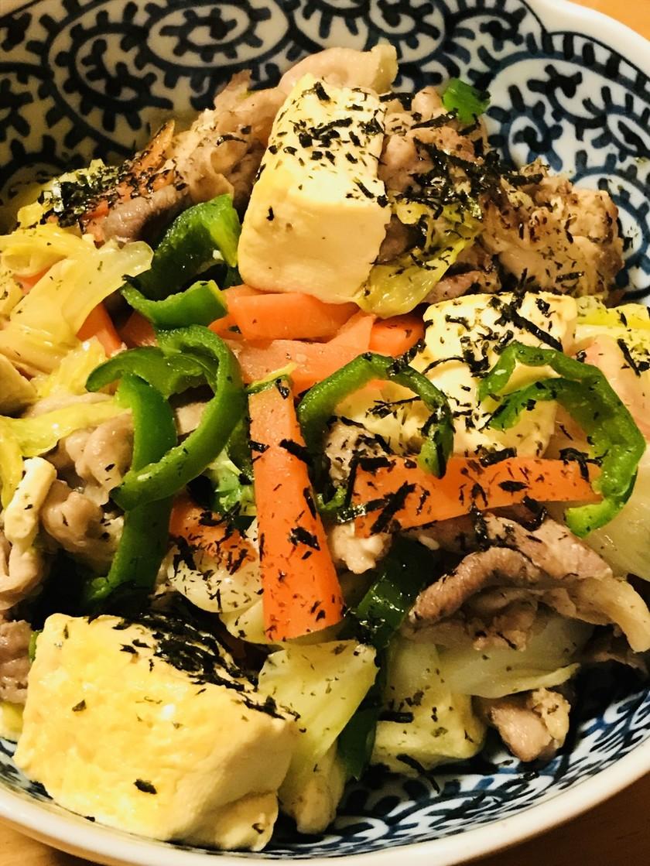 ピーマン&キャベツの豆腐チャンプルー