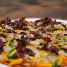 アウトドアにぴったり 生しば漬の野菜ピザ