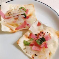 焼売餃子の皮でおつまみピザ