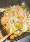 グリルパンで鮭とホタテのちゃんちゃん焼き