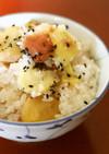 秋の実り♪もち米と梅干し入り栗ご飯