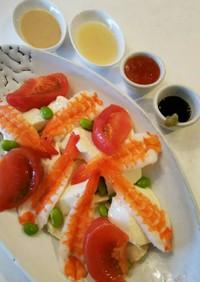 海老、豆腐、トマト、枝豆のサラダ