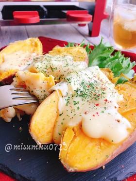 焼き芋にラクレットチーズ(動画有)