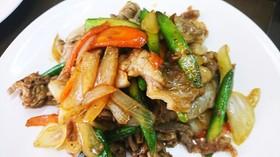 焼き肉のたれ簡単豚コマと残り野菜の炒め物