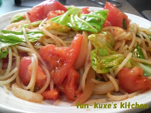 トマトとキャベツのスパゲッティ