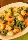 ブロッコリーと海老のオーロラソース炒め