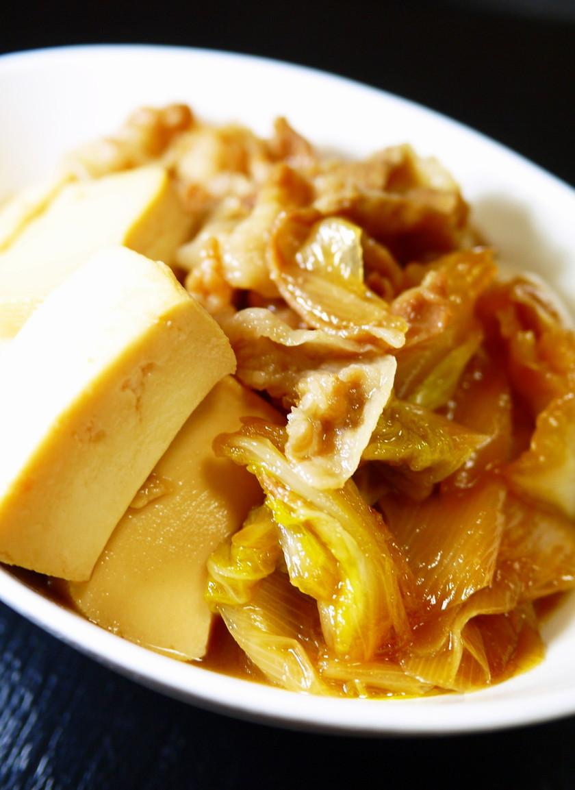 すき焼きの味!豚ばら豆腐白菜白葱で肉豆腐