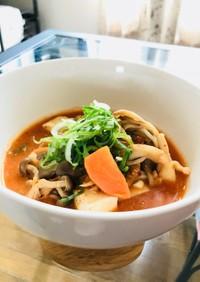 アレンジ広がる茸の酒粕トマトキムチスープ