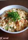 玉子とうふとカニカマのフワフワ天津飯