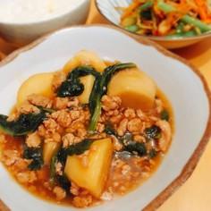 お好きな葉物野菜と*里芋のそぼろあんかけ