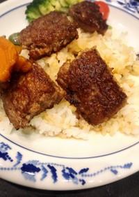 サイコロステーキ風丼