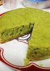QCで抹茶!?(青汁)のケーキ